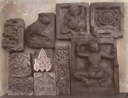 Miscellaneous terracottas and sculptured bricks from Mahasthan and Paharpur, etc., now in the Indian Museum, Calcutta.